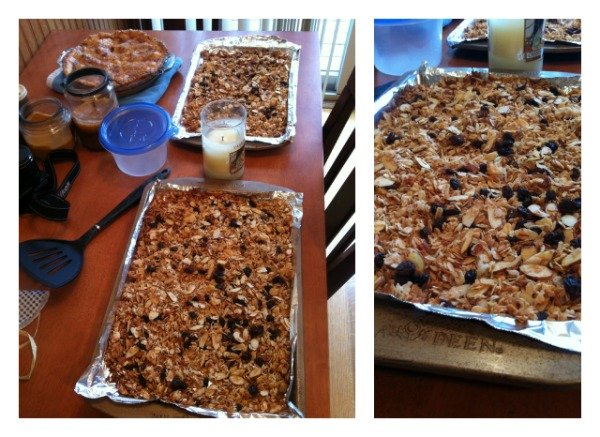 Coconut almond granola. Baked to give as a gift. Don't worry, I saved some for myself too ;)