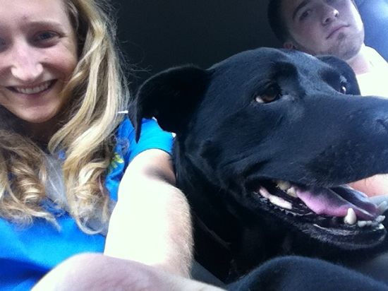 Another picture with Lola! She tries to sit in the front of my truck when Jimmy drives us to the park.