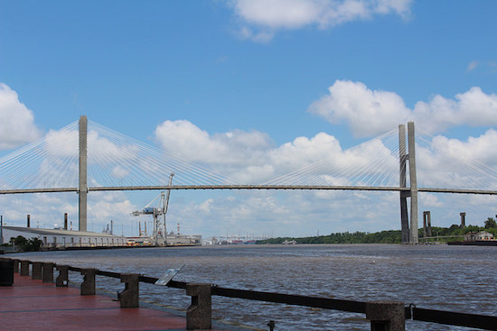 View of the Talmadge Memorial Bridge from River Street.