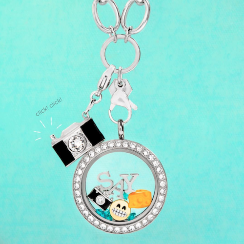 "An example of a necklace someone could design. I love how it says ""say cheese"" haha. (Source)"