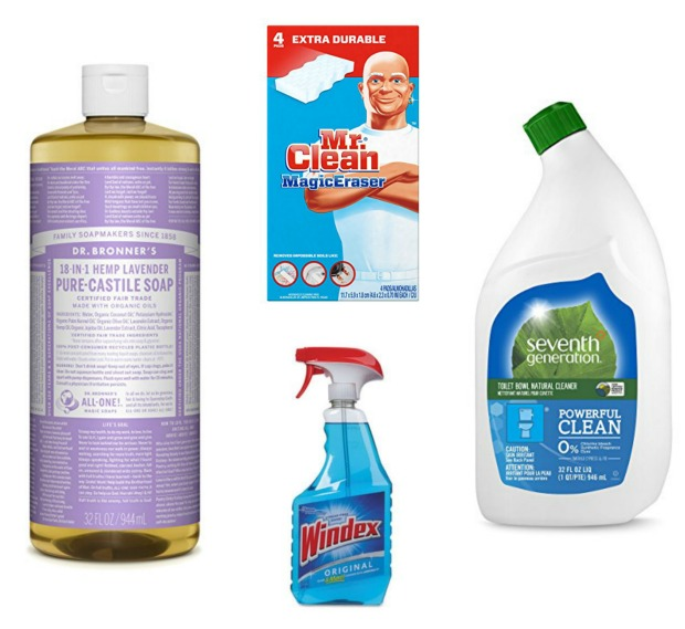 bathroom cleaning supplies dr. bronners magic eraser windex seventh generation natural toilet bowl cleaner