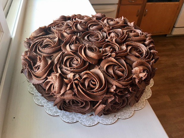 Chocolate rosette cake with chocolate buttercream