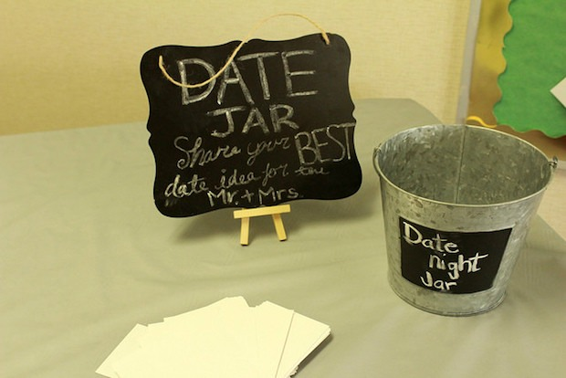 date night jar idea for bride and groom wedding or bridal shower