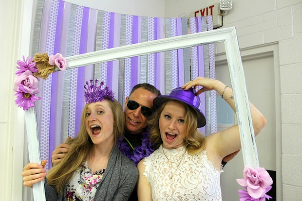 photo booth for rustic wedding and bridal shower with props