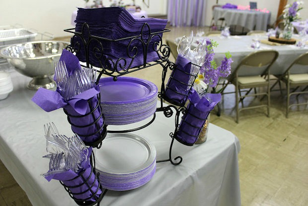 purple and gray themed wedding decor