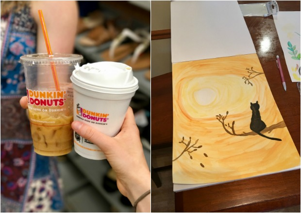 Dunkin Donuts coffee and cat watercolor