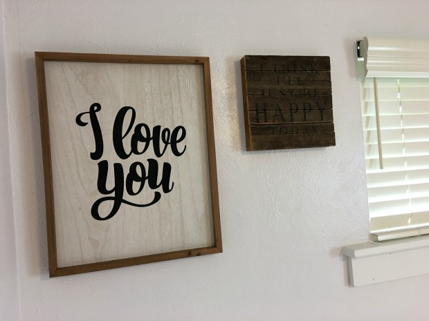 wooden I love you sign and I think I'll just be happy today box art