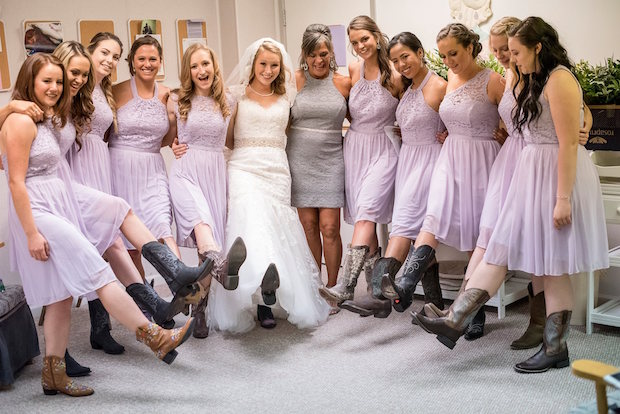 Bridesmaids dresses and boots