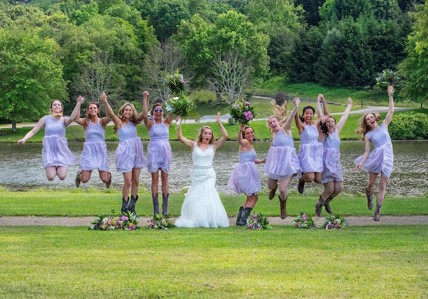 Bridesmaids jumping
