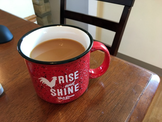 Coffee in Bob Evan's Rise and Shine mug