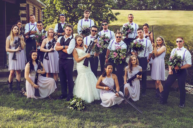 Bridal party with guns