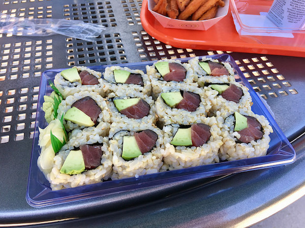 Brown rice sushi with avocado and tuna