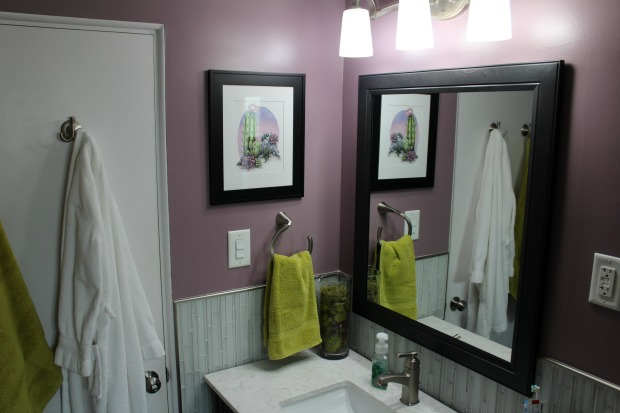 Purple gray and green bathroom renovation