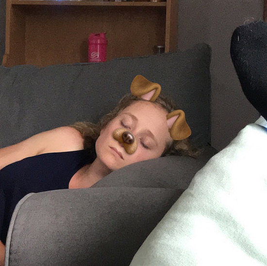Girl sleeping dog snapchat filter