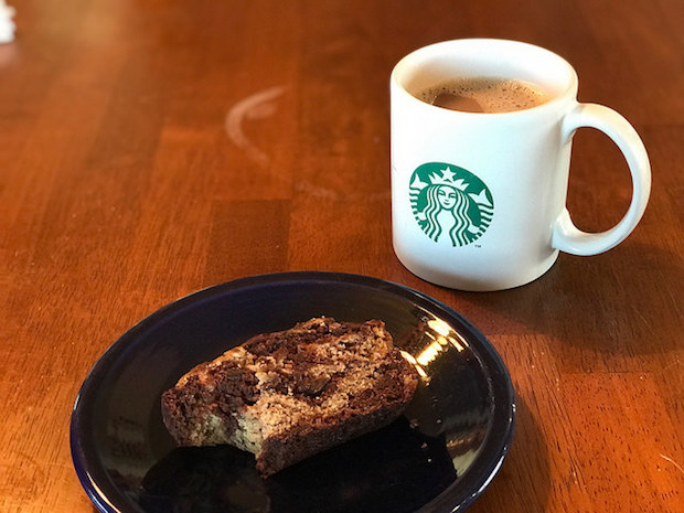 Starbucks coffee and chocolate banana bread