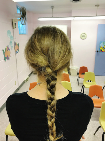 Simple braid in blonde hair