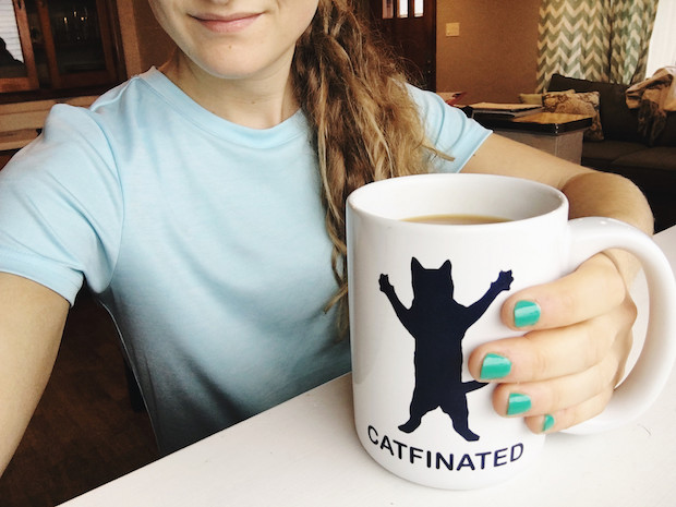 Coffee in catfinated mug from Kirkland's