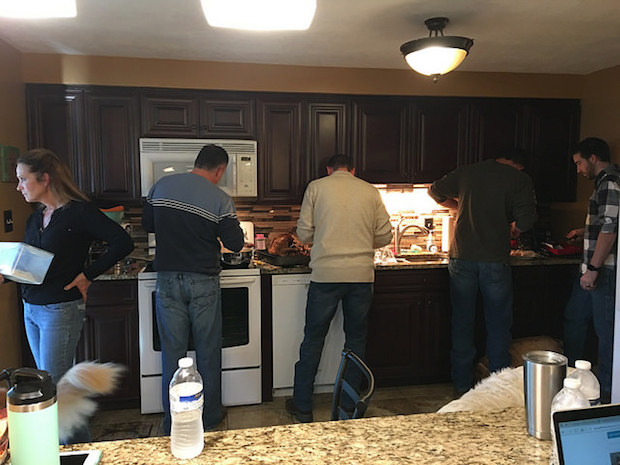 Family cooking Thanksgiving dinner