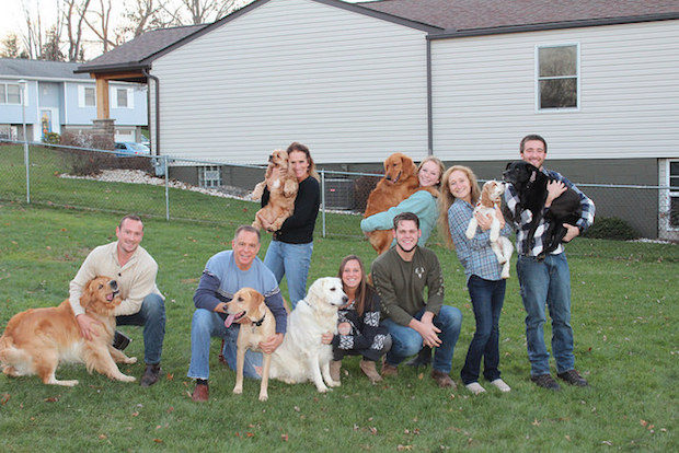 Family photo with dogs