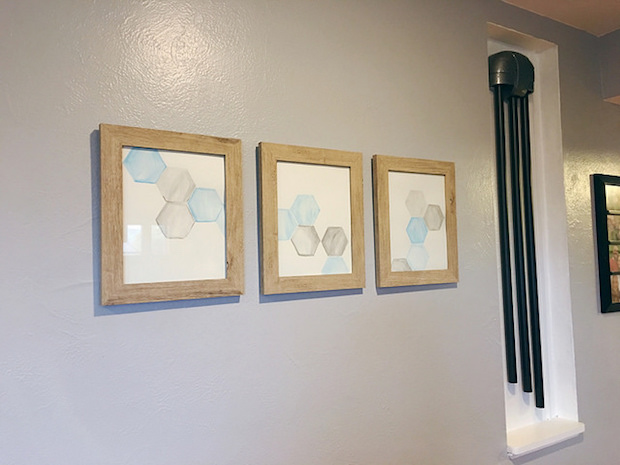 Blue and gray hexagon geometrical watercolor art framed