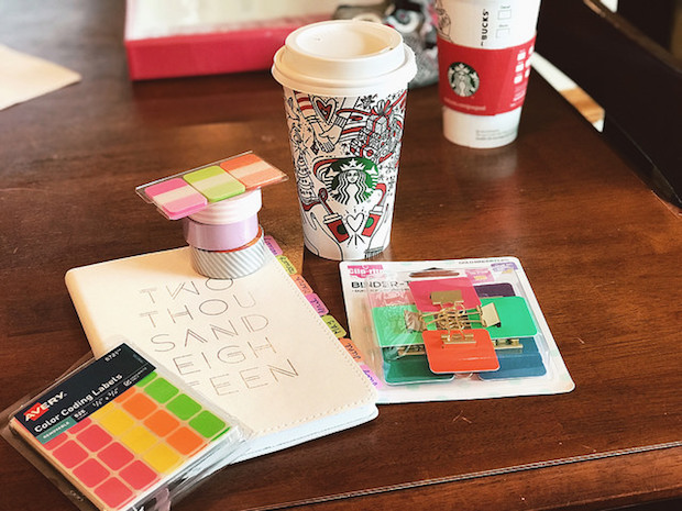 May Designs planner for BlueSky with accessories and coffee