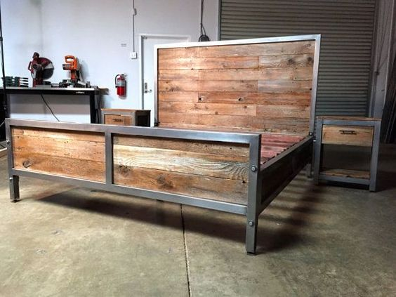 Wood and steel bed