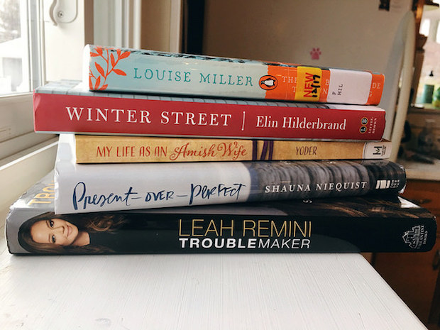 Stack of books Present Over Perfect Troublemaker, Winter Street