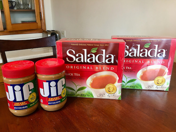 Jif peanut butter and Salada black tea bags