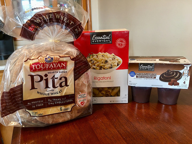 Toufayan Pita Bread, rigatoni, and chocolate pudding from Shop 'n Save