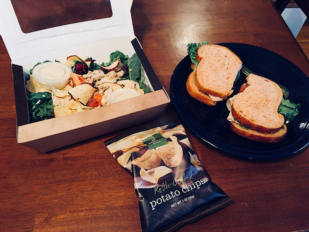 Panera Bread Fuji Apple Chicken Salad and Bacon Turkey Bravo with chips for home delivery