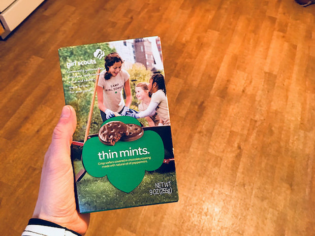 Thin mints girl scout cookies in box