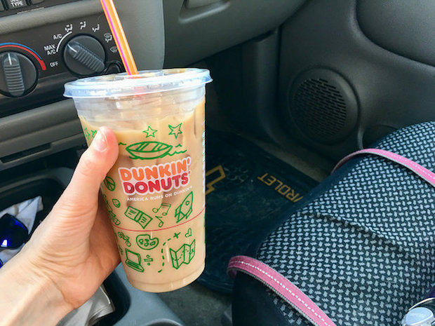 Dunkin Donuts iced coffee latte blueberry decaf