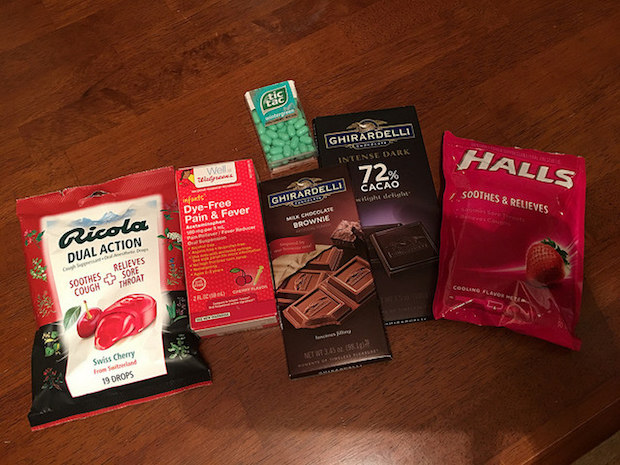 Ricola couch drops, Halls couch drops, Ghirardelli chocolate, tic tacs, and tylenol