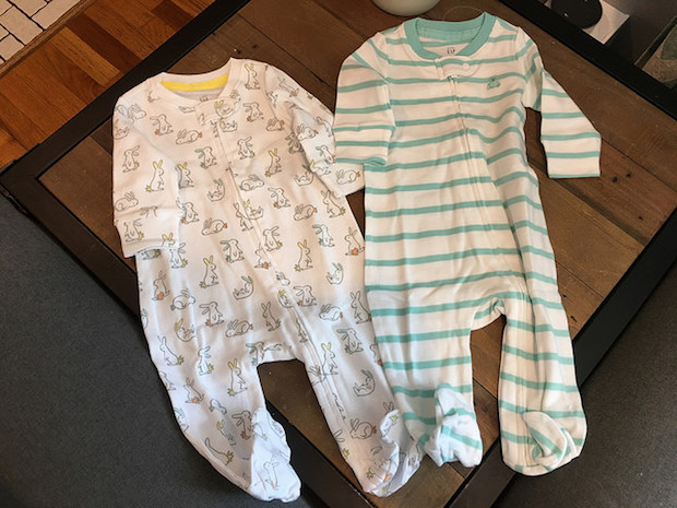 Baby sleepers from baby Gap with blue stripes and bunny rabbits 0-3 months