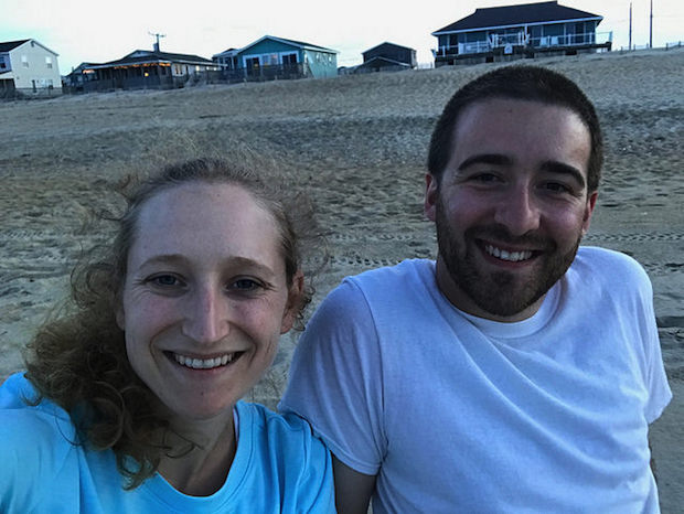Couple on the beach in the Outer Banks