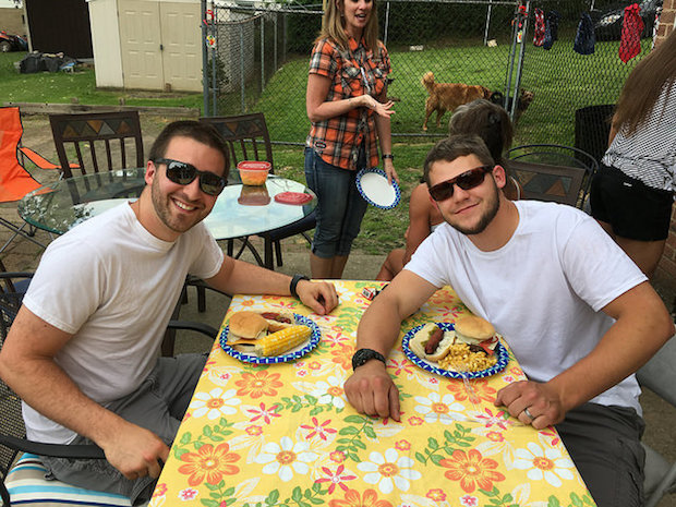 Guys at a cookout