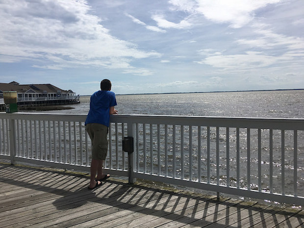 Duck boardwalk in North Carolina Outer Banks overlooking Currituck Sound