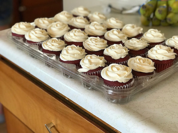 Red velvet cupcakes with rosettes