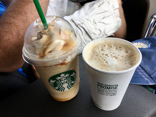 Starbucks vanilla latte and ultra caramel frappuccino