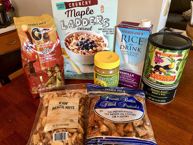 Trader Joe's maple ladders and sunflower seed spread and coffee and other products