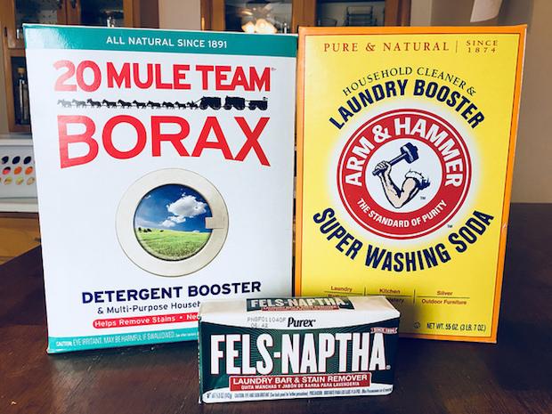Borax, arm & hammer washing soda, and felts naptha soap