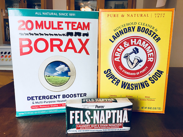 Borax, arm & hammer washing soda, and felts naptha soap