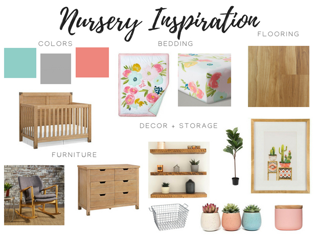 Baby girl nursery inspiration coral blue aqua and gray