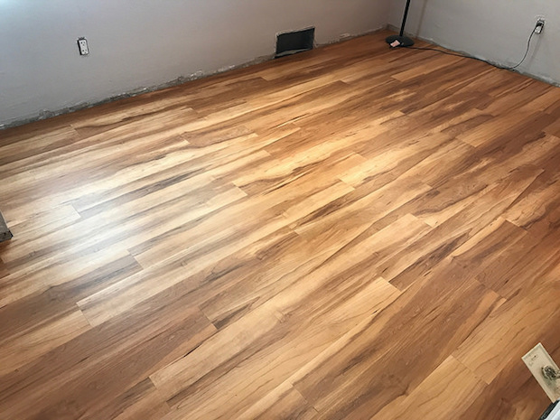 Vinyl core flooring that looks like wood in hickory
