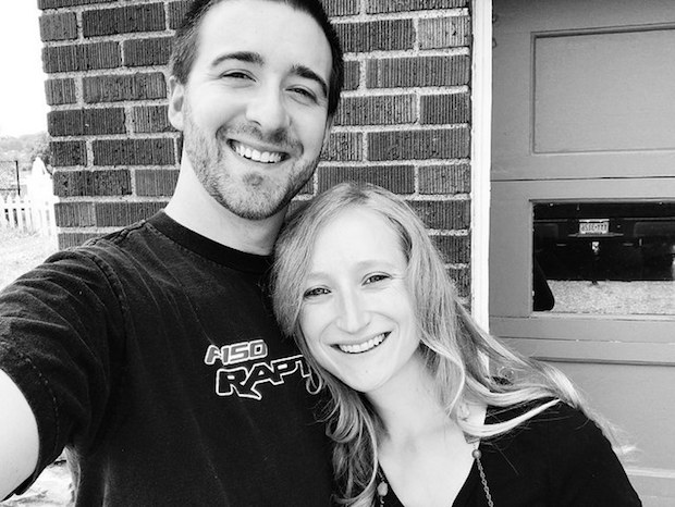 Black and white picture of smiling couple