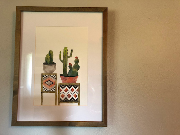 Cacti art from Hobby Lobby watercolor in wood frame with cactus and succulent and coral color