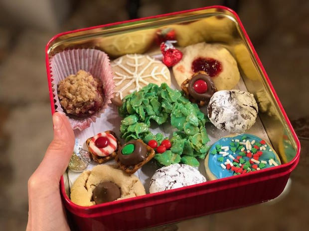 Christmas cookies in a tin