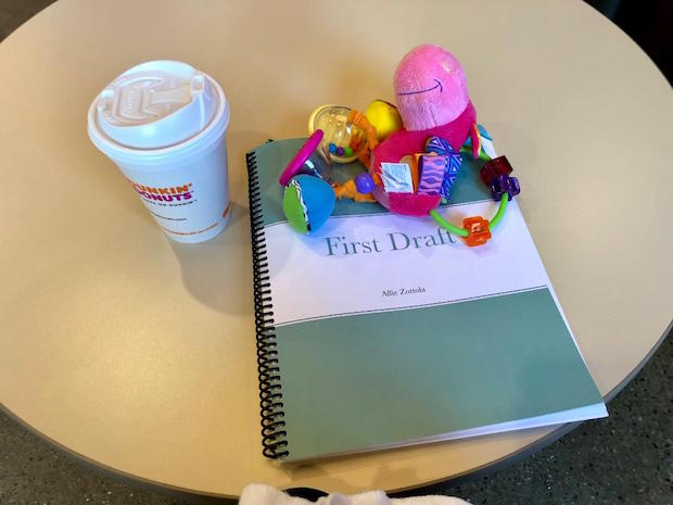 Dunkin donuts coffee and book editing with Clopette baby toy