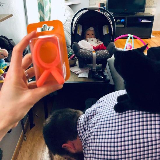 Comotomo teething toy teether in orange