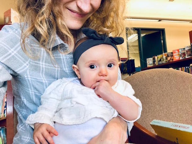 Mom and baby at library